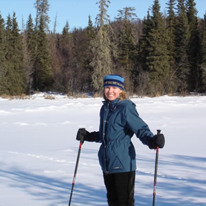 Dr. Pamela Hays, cross-country skiing in Alaska